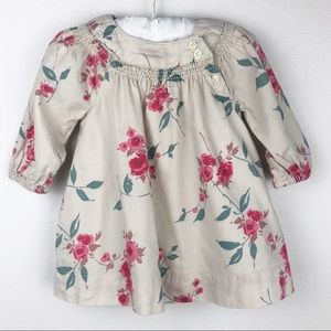 Baby Gap Floral Dress Khaki Beige Size 3-6 Months